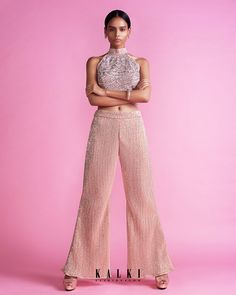 Peach Straight Pant In Sequin Fabric With A Halter Neck Embroidered Crop Top Online - Kalki Fashion Salmon Pants, Crop Tops Online, Pink Lehenga, Sequin Fabric, Pink Outfits, Halter Neck, Fashion Pants, Pink Dress, Peach