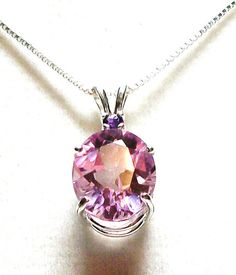Pink topaz accented with amethyst pendant genuine custom hand set in sterling silver gifts for her  Cotton Candy