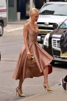 nude dress + gold accessories