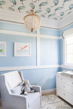"Love this baby nursery! Designed by Courtney Lake out of SF - the wallpaper on the ceiling is from ""Osbourne & Little"" - furniture from Pottery Barn. Photography : Tamra Berkhaug For Homepolish"