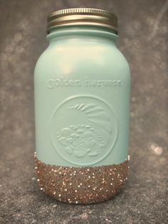 Lou Locks Pint Size Glitter Mason Jar - Mint & Gold