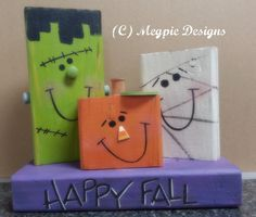 This is a quick and inexpensive Halloween craft! You can make one of these projects with just a 2 foot length of (and a few wood. 2x4 Crafts, Fall Wood Crafts, Halloween Wood Crafts, Wood Block Crafts, Wooden Crafts, Holiday Crafts, Holiday Fun, Halloween Decorations, Wood Blocks