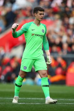 Kepa Arrizabalaga of Chelsea celebrates after his team's third goal during the Premier League match between Southampton FC and Chelsea FC at St Mary's Stadium on October 2018 in Southampton,. Get premium, high resolution news photos at Getty Images Neymar, Messi, Football Players Images, Soccer Players, Fc Chelsea, Chelsea Football, Southampton Fc, Southampton England, Germany Football Team