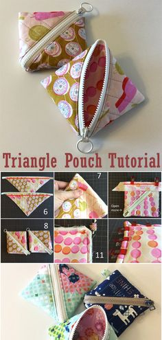 Quilt Patterns, Sewing Patterns, Stitch Patterns, Sewing Hacks, Sewing Crafts, Diy Bags Purses, Pouch Tutorial, Fabric Squares, Sewing Box
