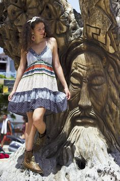 Matala's tree, striped gipsy dress with boots