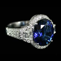 Blue Sapphire 7 ct. and Diamond Ring