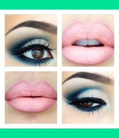 Blue Eyeshadow, Pink Lips  Super sexy, love it!