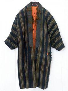 丸屋 Vintage Japanese Indigo Dyed Cotton Noragi Stripe Patch Boro Orange Lining