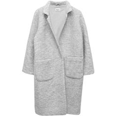 Ganni - Oversized Wool Coat | HUH. Store ❤ liked on Polyvore featuring outerwear, coats, jackets, coats & jackets, grey oversized coat, fur-lined coats, grey coat, woolen coat and single breasted wool coat