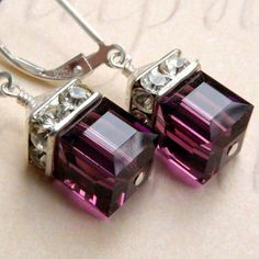 Purple Amethyst Crystal Earrings, Silver, Drop, Bridesmaid, Bridal, Wedding, Handmade Jewelry, February Birthday. $28.00, via Etsy.