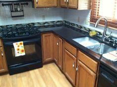 Accent backsplash and granite counters