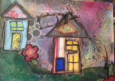 Whimsy Houses in my big art journal
