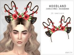 The Sims 4 Woodland Christmas Headband Los Sims 4 Mods, Sims 4 Game Mods, Sims 4 Mac, Sims Cc, Sims 4 Family, Sims 4 Anime, Girls Party Wear, Sims 4 Cc Kids Clothing, Sims 4 Characters