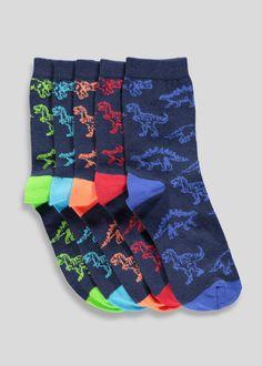 765af559e Boys 5 Pack Dinosaur Socks (Younger 6-Older 6.5) – Navy – Matalan