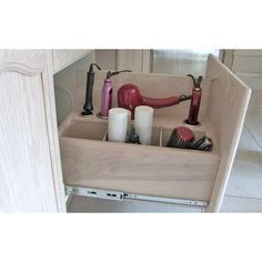 Opening Pull Out Hair Appliance Storage System In Clear, Clear Finish On  Natural Birch