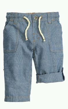 H&M Baby Boy Roll Up Pants Blue Striped %100 Cotton 12-18 Month