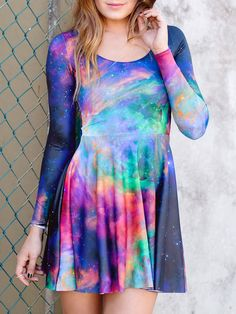 Galaxy Rainbow Long Sleeve Skater Dress (WW ONLY $99AUD ) by Black Milk Clothing