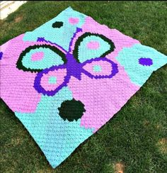 Butterfly Baby Afghan Blues and Pinks This Crochet Pattern includes basic instructions for the corner to corner, graph and written row by row color counts. C2c Crochet, Crochet Blanket Patterns, Quilt Patterns, Crochet Blankets, Baby Blankets, Tapestry Crochet, Crochet Afghans, Canvas Patterns, Stitch Patterns