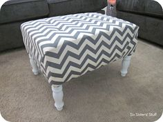 Six Sisters' Stuff: DIY Tufted Ottoman Fabric Recover Tutorial (my next project)