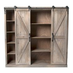 This Upper Cabinet Piece Has Sliding Barn Doors On Each Side, Opening Up To  Varying