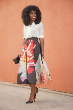 White blouse with floral calf length skirt & Christian Louboutin Pigalles #fashion