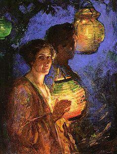 Lillian Genth, Woman with a Japanese Lantern, 1915