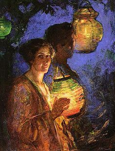 Lillian Genth, Woman with a Japanese Lantern, 1915