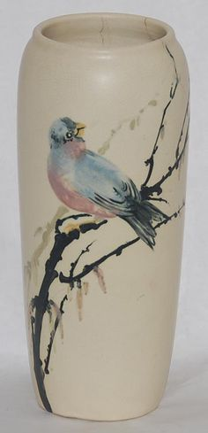 Weller Pottery Hudson White and Decorated Bird Vase