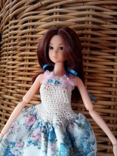 MOMOKO DRESS blue cream and pink flowery summer by ZomiDollClothes