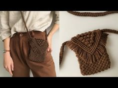 Crochet Pincushion, Crochet Clutch Bags, Macrame Purse, Knit Vest Pattern, Bag Patterns To Sew, Sewing Patterns, Macrame Design, Macrame Tutorial, Macrame Patterns