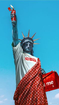 【Supreme x LV collaboration memorial】 The Statue of Liberty is a gift from France to USA In It's in New York city. ------ Louis Vuitton from Paris, France Supreme from NYC, USA ------ copy&fake Gucci Wallpaper Iphone, Supreme Iphone Wallpaper, Hype Wallpaper, Pop Art Wallpaper, Tumblr Wallpaper, Collage Mural, Supreme Logo, Hypebeast Wallpaper, Dope Art