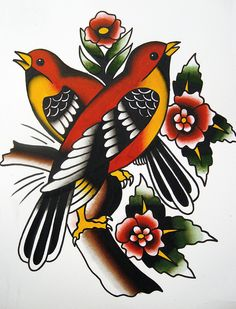 Traditional Birds Tattoo Flash | KYSA #ink #design #tattoo