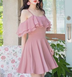 Elegant Pink Spaghetti Straps Chiffon Homecoming Dresses Sweet 16 Dresses SSM, This dress could be custom made, there are no extra cost to do custom size and color. Mini Prom Dresses, Sweet 16 Dresses, Sweet Dress, Women's Dresses, Dress Outfits, Casual Dresses, Fashion Dresses, Teen Outfits, Dress Prom