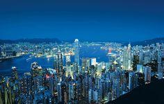 Vistas de Hong Kong desde el Pico Victoria, el punto más alto de la ciudad