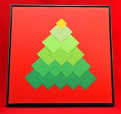 Ombre Squares Christmas Tree step 11 add a frame and display Christmas Arts And Crafts, Preschool Christmas, Noel Christmas, Christmas Activities, Christmas Projects, Winter Christmas, Holiday Crafts, Christmas Cards, Christmas Decorations