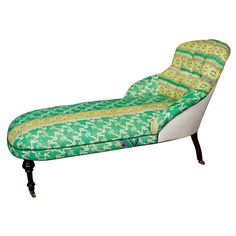 Chaise covered in vintage Indian fabric