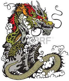 dragon chinois tatouage illustration photo