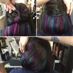 Peekaboo color or hidden color, Mermaid Hair by Deanna Henning @ Studio_M Salon in Melbourne, Florida