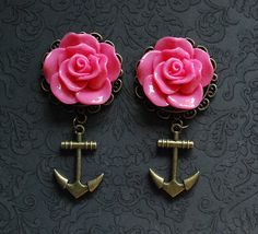 "Large Pink Rose Nautical Girly Plugs with Anchor - 5/8"", 3/4"", 7/8"", 1"" - @Robinosaurus Rex.com"