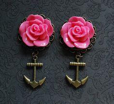"Large Pink Rose Nautical Girly Plugs with Anchor - 5/8"", 3/4"", 7/8"", 1"" - @Robinosaurus Rex.com"