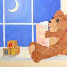 Fine Art Print of Original Painting, Teddy Bear and Baby Bear Reading a book by Moon Lit window, childrens decor, nursery, sunday school. $38.00, via Etsy.