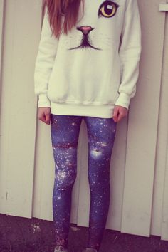 YES YES YES galaxy leggings and the cat sweater YES