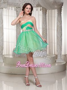Twisted Bust for Beaded Decorated Mini Senior Prom Dress in Colorful