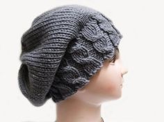 Knit pattern in PDF file here: Knitting pattern hat slouchy beanie. Base knowledge in knitting is necessary. Knowledge of casting on, knit stitch and purl stitch over is required for the patte Knitting Patterns Free, Knit Patterns, Free Knitting, Baby Knitting, Knit Or Crochet, Crochet Hats, Mens Beanie Hats, Beanies, Knit Beanie Pattern