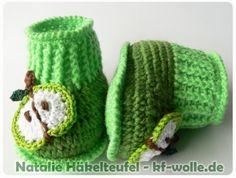 Babyschuhe häkeln // Babyschuhe Apfel-Design