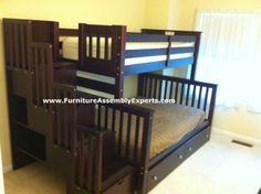wayfair bunk bed with storage drawers and stairs assembled in fairfax county va by Furniture assembly Experts LLC