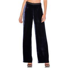 T by Alexander Wang Silk Velvet Wide Leg Pant (26.560 RUB) ❤ liked on Polyvore featuring pants, velvet pants, blue velvet pants, blue trousers, silk pants and silk wide leg trousers