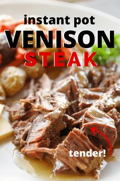 steak recipes This tender and juicy venison steak recipe using the Instant Pot shows the BEST way to cook venison steak. Dont know how to cook venison steak No worries! This recipe shows you step by step on how to make it! Deer Steak Recipes, Deer Recipes, Game Recipes, Crockpot Venison Recipes, How To Cook Venison, Venison Roast, Cooking Venison Steaks, Beef Tenderloin, Pork Roast