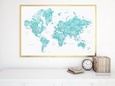 """Printable world map poster in watercolor style featuring cities, capitals, states...no quote, large 36x24""""  #printable #print #home #map #travel #tra #36 #grayscale #marrón #holiday"""