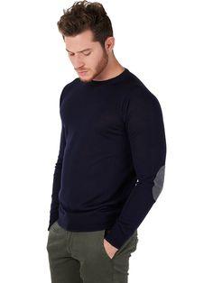 +39 Masq blue sweater for men merino wool